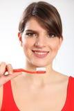 toothbrush kobieta piękni czysty zęby Zdjęcie Stock