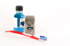 Toothbrush Mouthwash Floss Stock Photos