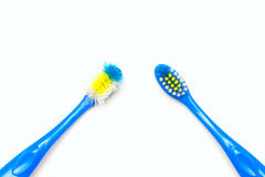 Toothbrush new and used Stock Photos