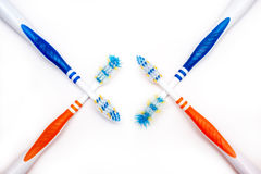 Toothbrush new and used Royalty Free Stock Photography