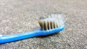 Toothbrush. Old toothbrush in my house royalty free stock image