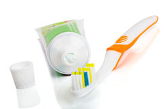 Toothbrush and paste Stock Photo
