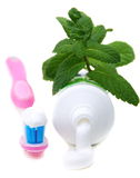 Toothbrush and paste mint. Royalty Free Stock Image