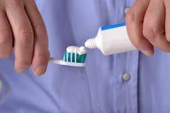 Toothbrush paste Stock Photo