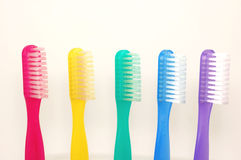 Toothbrush rainbow. Colorful tooth brushes Stock Photo