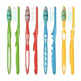 Toothbrush Set Vector. Realistic Plastic Toothbrushes. Different Colors. Top View. Isolated Illustration Stock Images