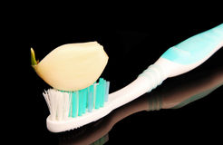 Toothbrush with a slice of garlic Royalty Free Stock Photos