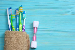 Toothbrush tooth-brush with bath towel on wooden table. top view with copy space. Toothbrush tooth-brush with bath towel on wooden background. top view with copy Royalty Free Stock Photos