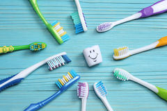 Free Toothbrush Tooth-brush On Wood Table. Top View Royalty Free Stock Photography - 96977757
