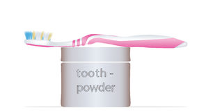 Toothbrush and tooth powder Royalty Free Stock Photos