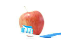 A Toothbrush with Toothpaste Stock Photos