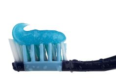 Toothbrush with toothpaste. Closeup image of toothbrush with toothpaste stock photos