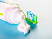 Toothbrush with toothpaste close-up Stock Image