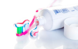 Toothbrush with toothpaste close-up Royalty Free Stock Photo