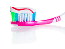 Toothbrush with toothpaste close-up Stock Photo