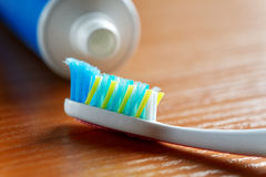 Toothbrush and toothpaste closeup Royalty Free Stock Photo