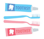 Toothbrush and toothpaste Stock Photo