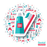 Toothbrush and Toothpaste Flat Sticker Icon Royalty Free Stock Photos