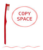Toothbrush and toothpaste shapes - red and white, isolated Stock Photography