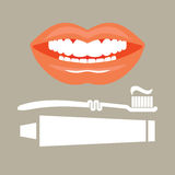 Toothbrush, toothpaste and tooth dental concept Stock Images