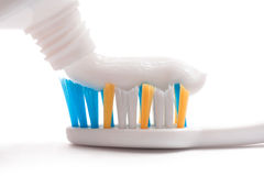 Toothbrush, toothpaste, tube Royalty Free Stock Images