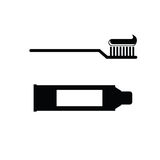 Toothbrush and toothpaste vector Stock Images