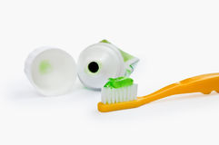 A toothbrush with a tube Stock Photos