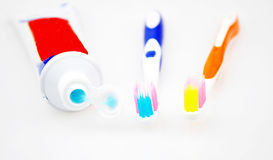 Toothbrush and tube Royalty Free Stock Image