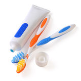 Toothbrush and tube of toothpaste stock photos