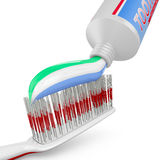 Toothbrush and tube of toothpaste Royalty Free Stock Images