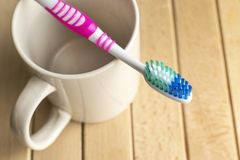 Toothbrush on the white cup. Toothbrush, Dental Care, Dental Health, Dental Equipment Stock Photos