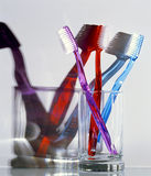 Toothbrushes. Red, blue or purple...which one Royalty Free Stock Images