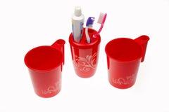 Toothbrushes & dentífrico Fotografia de Stock Royalty Free