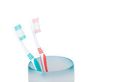 toothbrushes & tazza Fotografie Stock
