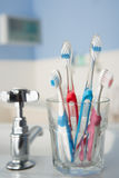 Toothbrushes in bathroom Royalty Free Stock Images