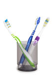 Toothbrushes in cup isolated Royalty Free Stock Photo