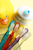 Toothbrushes das famílias, dentífrico, pato de borracha amarelo, banheiro Fotografia de Stock