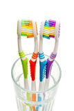 Toothbrushes in a glass. Four colored toothbrushes in a glass closeup on a white background Stock Photo