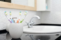 Toothbrushes in glass Royalty Free Stock Photos