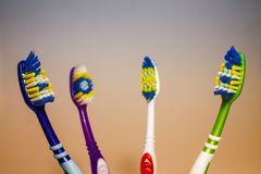 Toothbrushes on a light background stock image