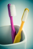 Toothbrushes in a mug Royalty Free Stock Photography