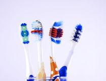 Toothbrushes On A Glass Royalty Free Stock Photo