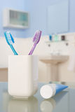 toothbrushes pasta do zębów Obrazy Royalty Free
