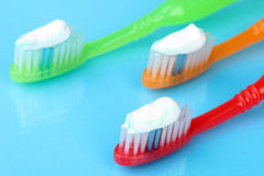 Toothbrushes with paste Royalty Free Stock Images