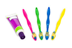 Toothbrushes and paste tube Stock Images