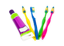 Toothbrushes and paste tube Stock Photo