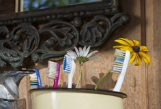 Toothbrushes On A Sink royalty free stock photo