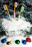 Toothbrushes in snow. Stock Image