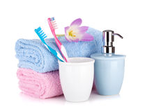 Toothbrushes, soap and two towels Royalty Free Stock Photo
