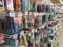 Toothbrushes in supermarket Royalty Free Stock Photos